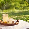 Refreshing lemonade and book on tray in a green garden