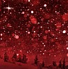 Snowing in red winter landscape