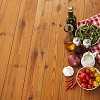 Salad ingredients on wooden background