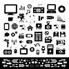 media and technology basic icon set