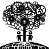 Vector image of a tree made of gears and two men shape